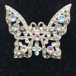 Costume pin, iridescent rhinestones